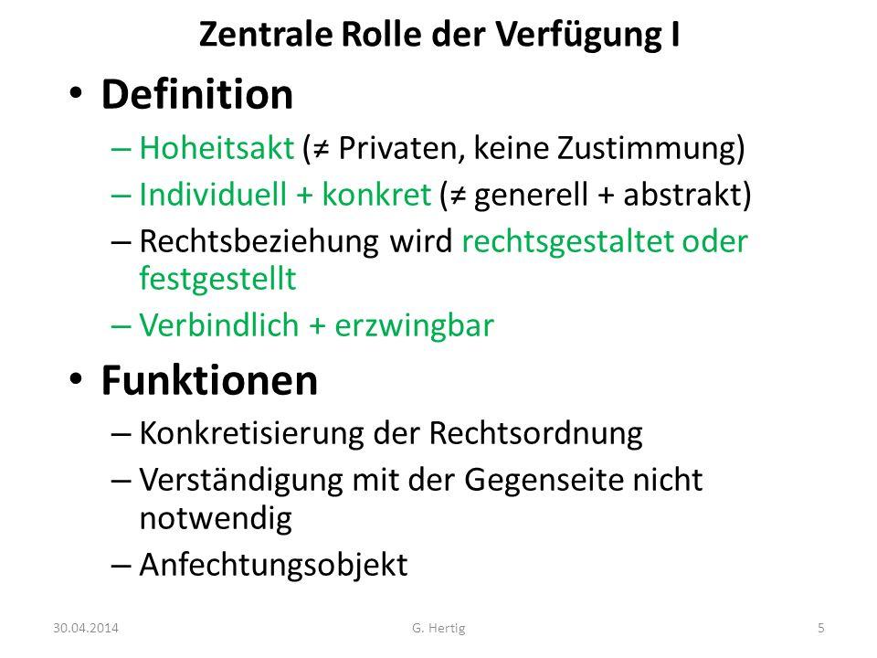 Zentrale Rolle der Verfügung I Definition – Hoheitsakt ( Privaten, keine Zustimmung) – Individuell + konkret ( generell + abstrakt) – Rechtsbeziehung