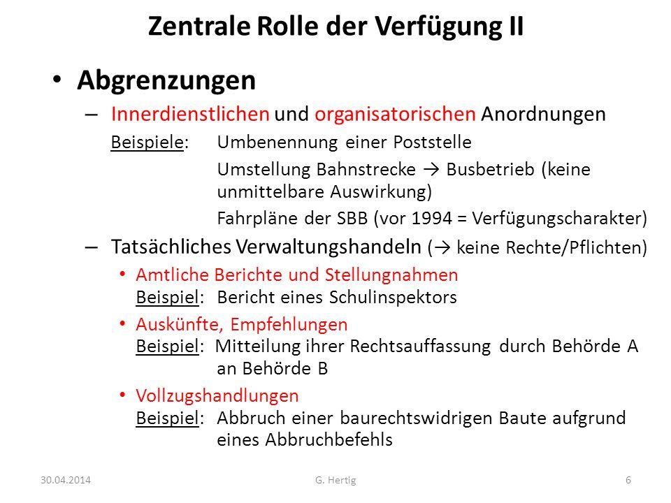 Zentrale Rolle der Verfügung II Abgrenzungen – Innerdienstlichen und organisatorischen Anordnungen Beispiele: Umbenennung einer Poststelle Umstellung