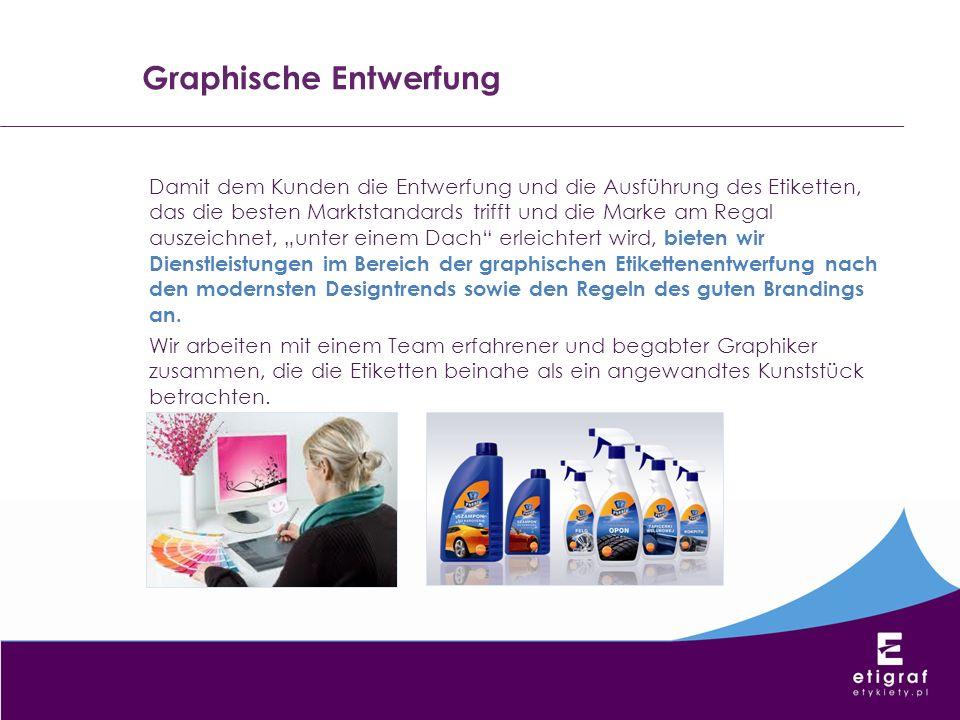 Graphische Entwerfung Damit dem Kunden die Entwerfung und die Ausführung des Etiketten, das die besten Marktstandards trifft und die Marke am Regal au