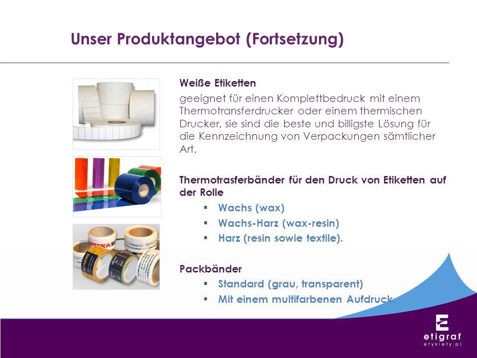 Weiße Etiketten geeignet für einen Komplettbedruck mit einem Thermotransferdrucker oder einem thermischen Drucker, sie sind die beste und billigste Lö