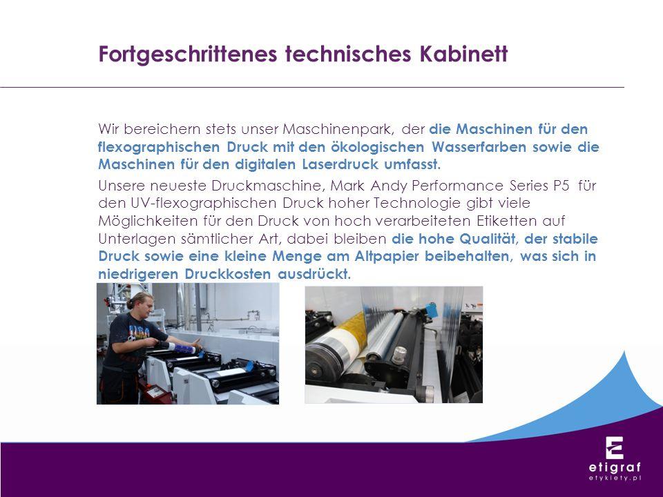 Fortgeschrittenes technisches Kabinett Wir bereichern stets unser Maschinenpark, der die Maschinen für den flexographischen Druck mit den ökologischen
