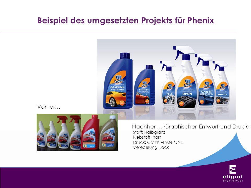 Beispiel des umgesetzten Projekts für Phenix Vorher… Nachher … Graphischer Entwurf und Druck: Stoff: Halbglanz Klebstoff: hart Druck: CMYK +PANTONE Ve