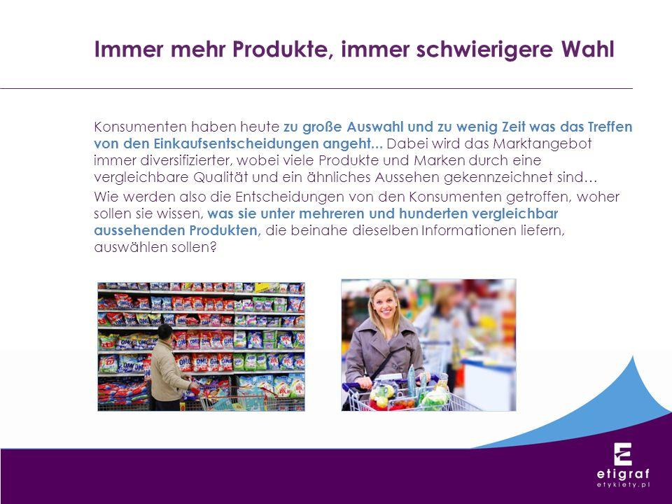 Konsumenten haben heute zu große Auswahl und zu wenig Zeit was das Treffen von den Einkaufsentscheidungen angeht... Dabei wird das Marktangebot immer