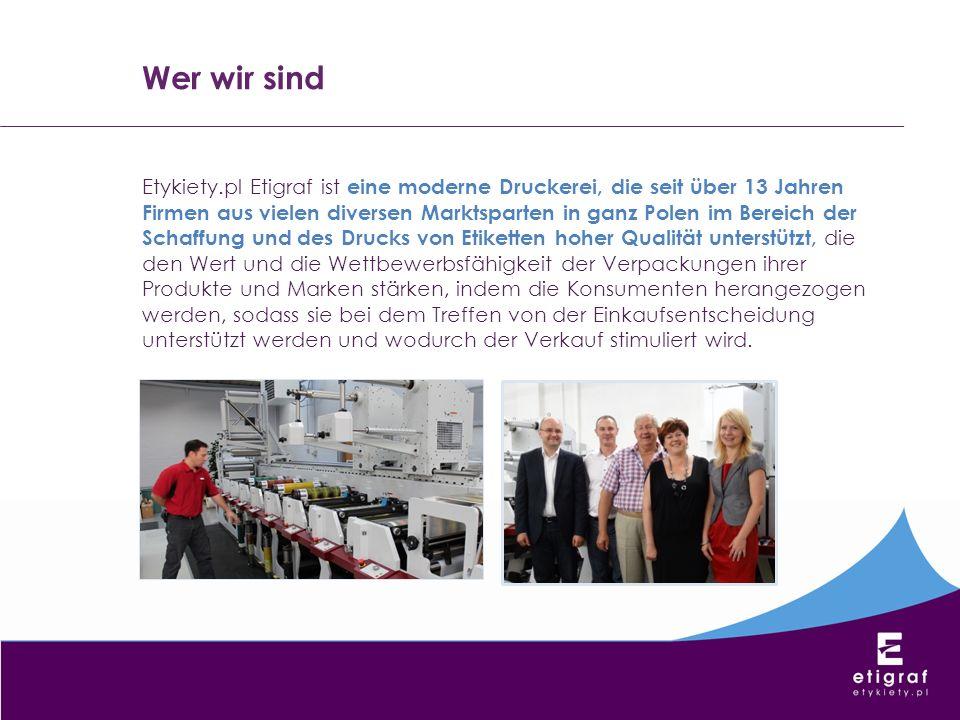 Etykiety.pl Etigraf ist eine moderne Druckerei, die seit über 13 Jahren Firmen aus vielen diversen Marktsparten in ganz Polen im Bereich der Schaffung