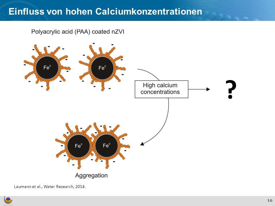 Effekte und Verhalten von TiO 2 Nanopartikeln in der aquatischen Umwelt 16 Einfluss von hohen Calciumkonzentrationen Laumann et al., Water Research, 2014.