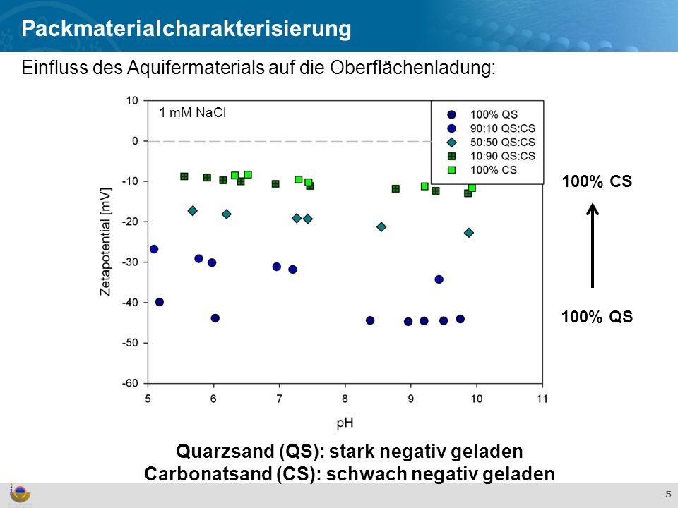 Effekte und Verhalten von TiO 2 Nanopartikeln in der aquatischen Umwelt 5 Packmaterialcharakterisierung Quarzsand (QS): stark negativ geladen Carbonatsand (CS): schwach negativ geladen 100% CS 100% QS 1 mM NaCl Einfluss des Aquifermaterials auf die Oberflächenladung:
