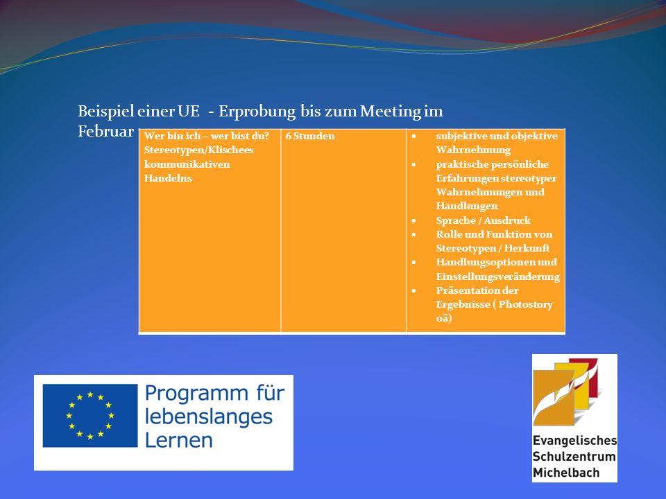 Beispiel einer UE - Erprobung bis zum Meeting im Februar Stund e ThemaInhalte 1Wer bin ich.