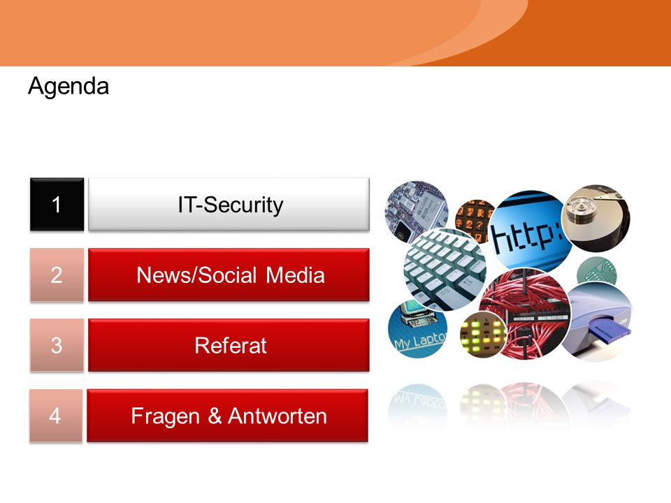 Agenda 1 1 2 2 3 3 4 4 IT-Security News/Social Media Referat Fragen & Antworten