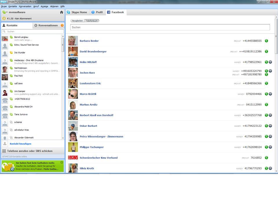 Skype 5.0 Auf den ersten Blick fällt auf, dass die Programmoberfläche von Skype 5.0 gegenüber der Vorgängerversion einen Hauch übersichtlicher geworden ist.