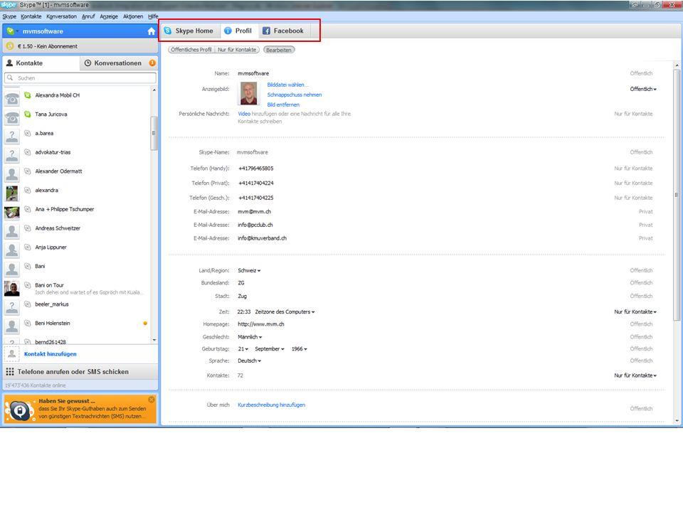 Skype 5.0 In Skype 5.0 hat Facebook einen eigenen Reiter erhalten.