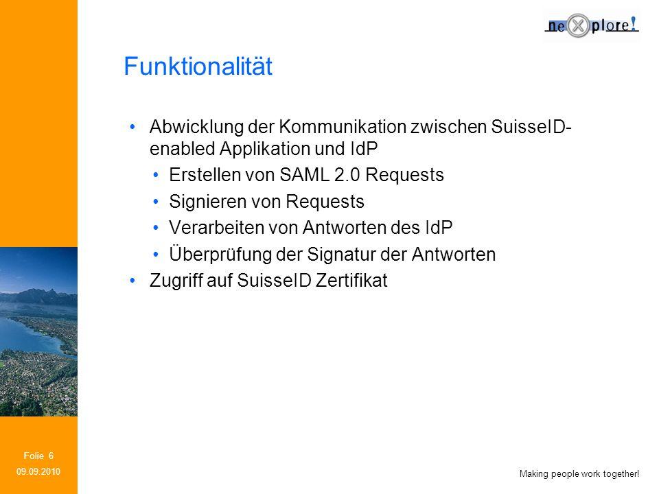 Making people work together! Folie 27 SuisseID SDK Extensions 09.09.2010