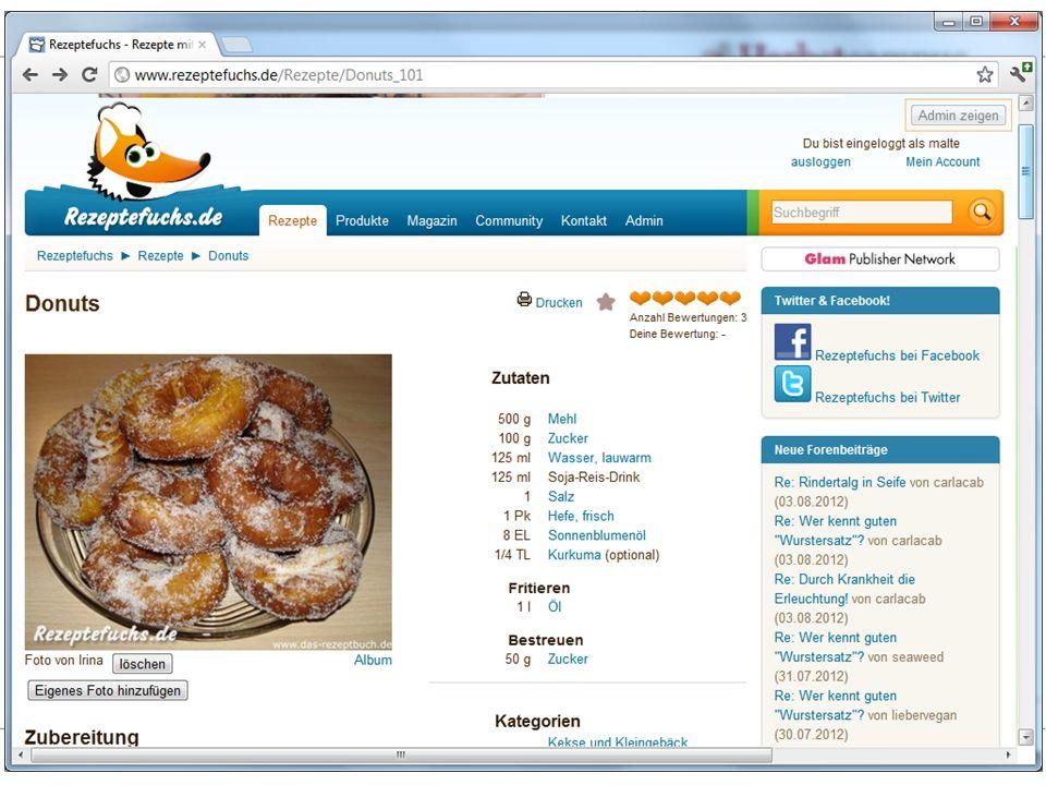 Herbstcampus 2012 – Umzug - ASP.NET-WebForms-Elemente in MVC weiterverwenden – Dr. Malte Clasen Rezeptefuchs.de