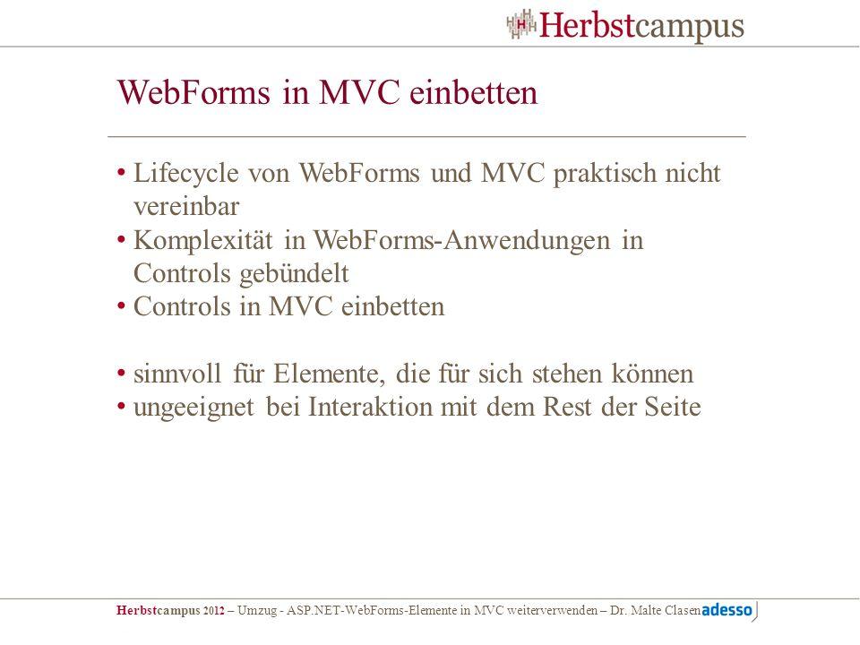 Herbstcampus 2012 – Umzug - ASP.NET-WebForms-Elemente in MVC weiterverwenden – Dr. Malte Clasen WebForms in MVC einbetten Lifecycle von WebForms und M