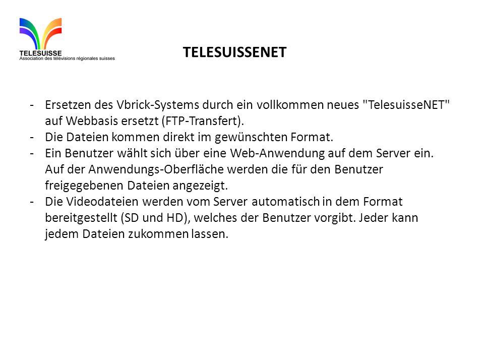 -Ersetzen des Vbrick-Systems durch ein vollkommen neues TelesuisseNET auf Webbasis ersetzt (FTP-Transfert).