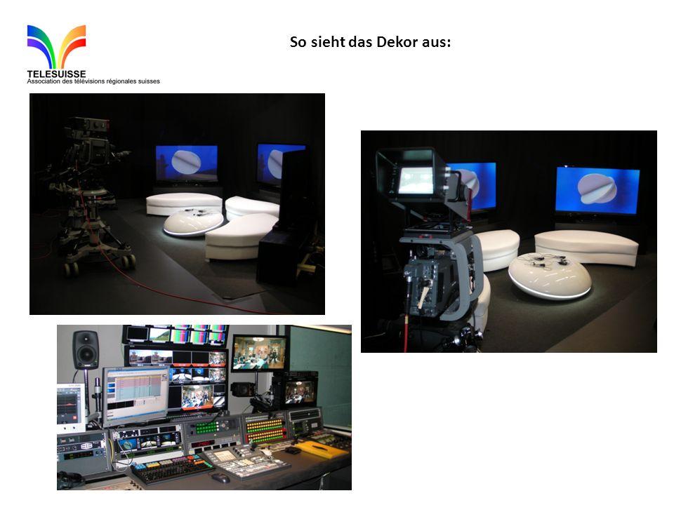Vor einer Sendung ist folgendes vorzusehen : -Die Fernsehen sind sind mit einem DVD-Gerät verbunden.