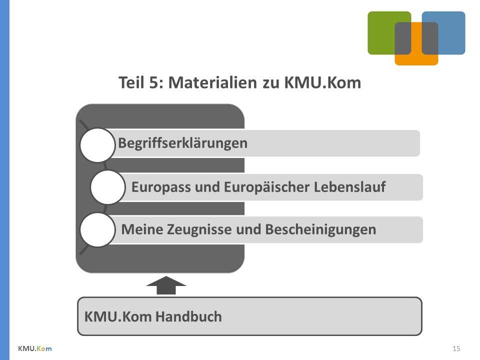 15 Teil 5: Materialien zu KMU.Kom KMU.Kom KMU.Kom Handbuch