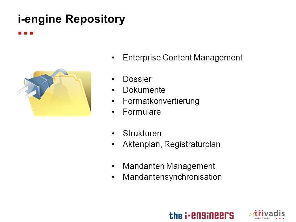© 2009 i-engine Repository Enterprise Content Management Dossier Dokumente Formatkonvertierung Formulare Strukturen Aktenplan, Registraturplan Mandant