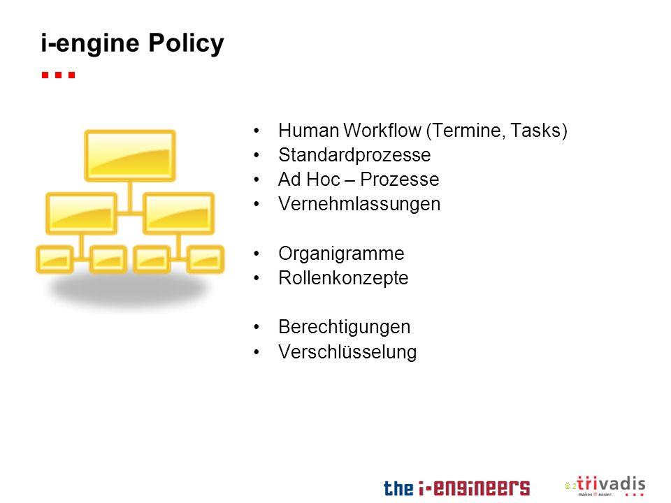 © 2009 i-engine Policy Human Workflow (Termine, Tasks) Standardprozesse Ad Hoc – Prozesse Vernehmlassungen Organigramme Rollenkonzepte Berechtigungen Verschlüsselung