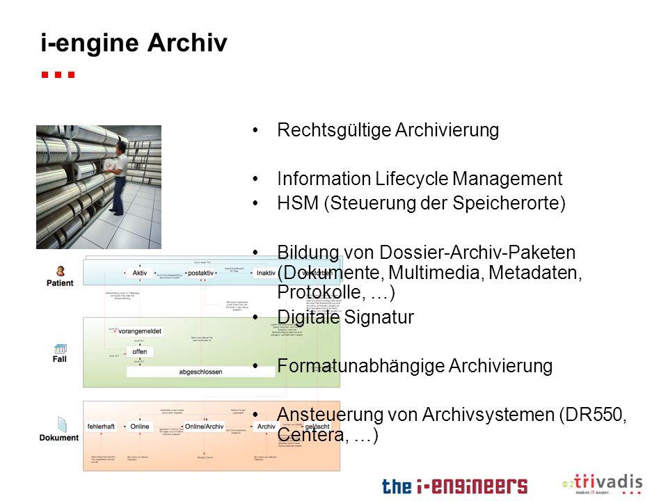© 2009 i-engine Archiv Rechtsgültige Archivierung Information Lifecycle Management HSM (Steuerung der Speicherorte) Bildung von Dossier-Archiv-Paketen