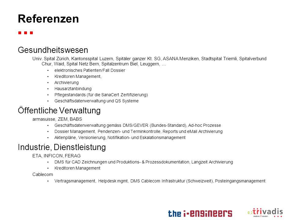 © 2009 Referenzen Gesundheitswesen Univ. Spital Zürich, Kantonsspital Luzern, Spitäler ganzer Kt. SG, ASANA Menziken, Stadtspital Triemli, Spitalverbu