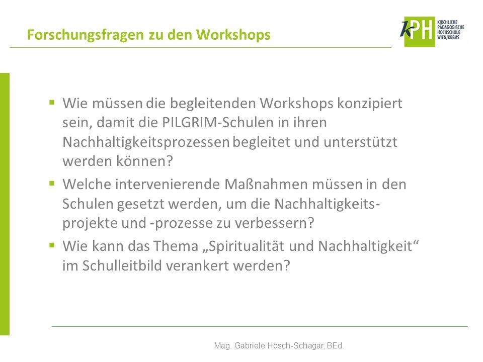 Wie müssen die begleitenden Workshops konzipiert sein, damit die PILGRIM-Schulen in ihren Nachhaltigkeitsprozessen begleitet und unterstützt werden können.