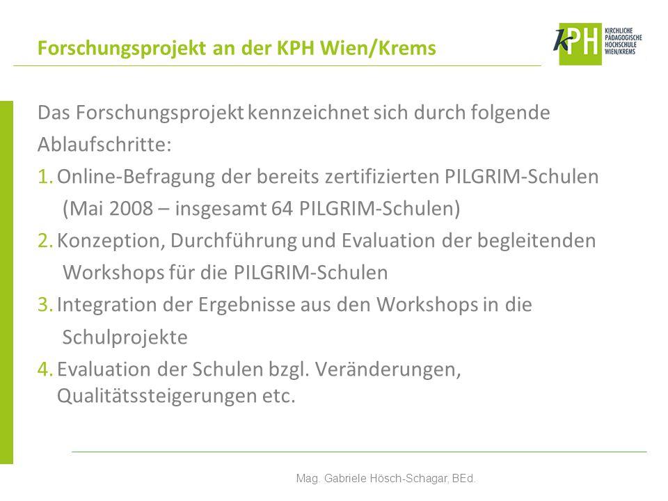 Das Forschungsprojekt kennzeichnet sich durch folgende Ablaufschritte: 1.Online-Befragung der bereits zertifizierten PILGRIM-Schulen (Mai 2008 – insgesamt 64 PILGRIM-Schulen) 2.Konzeption, Durchführung und Evaluation der begleitenden Workshops für die PILGRIM-Schulen 3.Integration der Ergebnisse aus den Workshops in die Schulprojekte 4.Evaluation der Schulen bzgl.