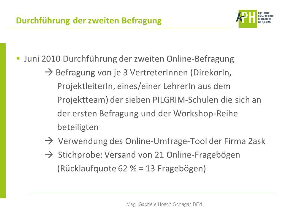 Juni 2010 Durchführung der zweiten Online-Befragung Befragung von je 3 VertreterInnen (DirekorIn, ProjektleiterIn, eines/einer LehrerIn aus dem Projek