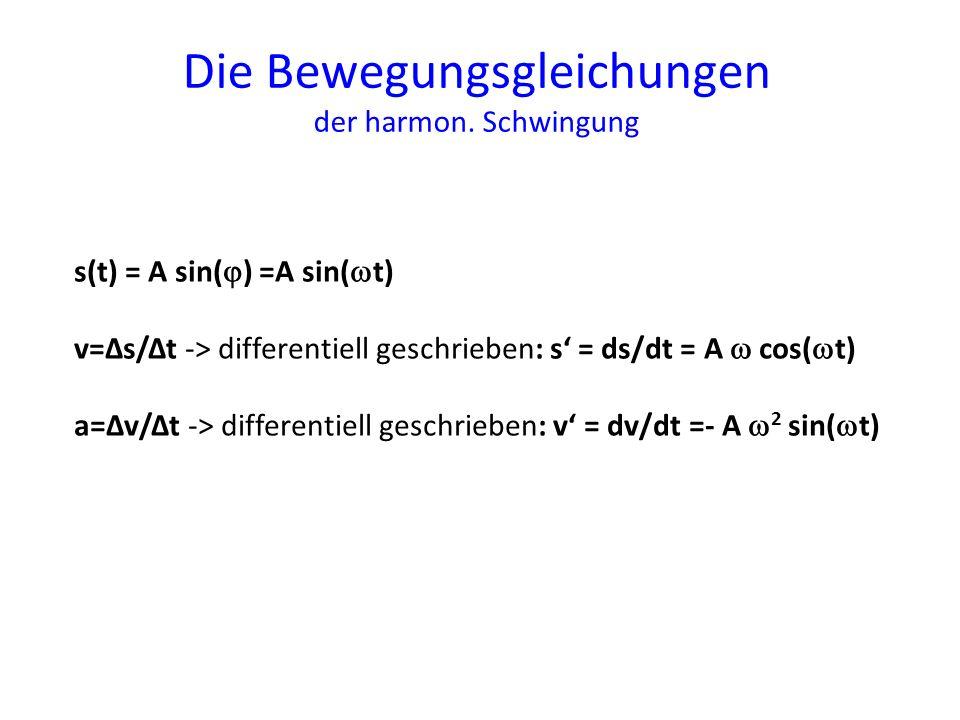 Die Bewegungsgleichungen der harmon. Schwingung s(t) = A sin( ) =A sin( t) v=Δs/Δt -> differentiell geschrieben: s = ds/dt = A cos( t) a=Δv/Δt -> diff