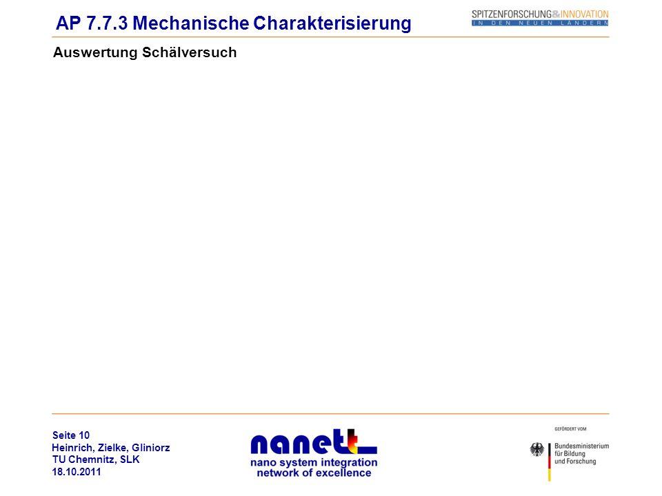 Seite 10 Heinrich, Zielke, Gliniorz TU Chemnitz, SLK 18.10.2011 Auswertung Schälversuch AP 7.7.3 Mechanische Charakterisierung