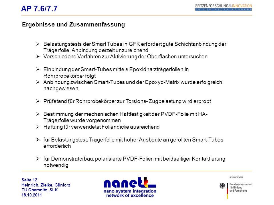Seite 12 Heinrich, Zielke, Gliniorz TU Chemnitz, SLK 18.10.2011 Ergebnisse und Zusammenfassung Belastungstests der Smart Tubes in GFK erfordert gute S