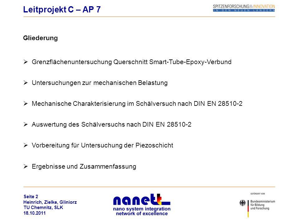 Seite 2 Heinrich, Zielke, Gliniorz TU Chemnitz, SLK 18.10.2011 Gliederung Grenzflächenuntersuchung Querschnitt Smart-Tube-Epoxy-Verbund Untersuchungen
