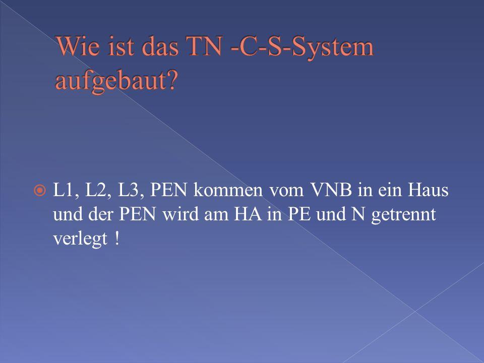 L1, L2, L3 und N werden vom VNB eingespeist Für den Schutzleiter wird ein Anlagenerder installiert!