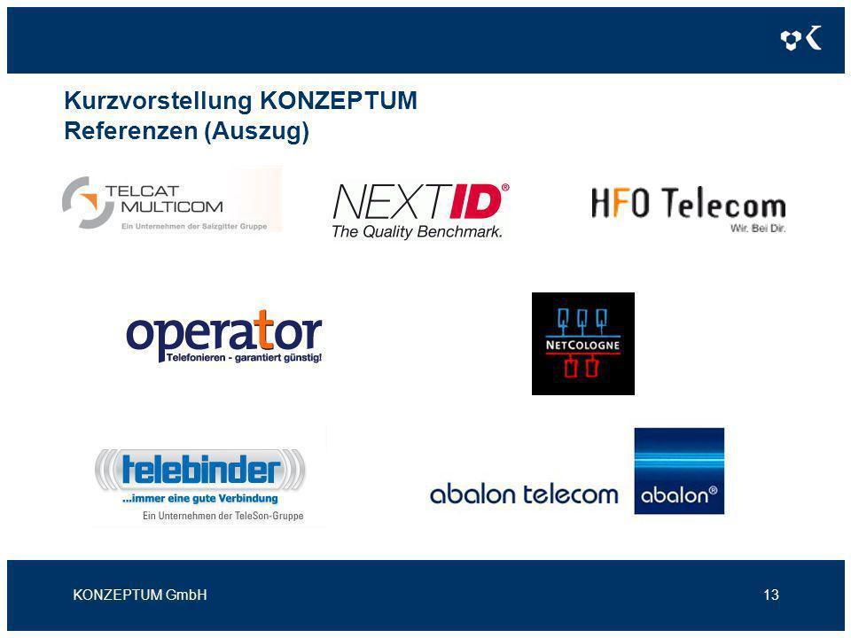 Kurzvorstellung KONZEPTUM Referenzen (Auszug) KONZEPTUM GmbH13