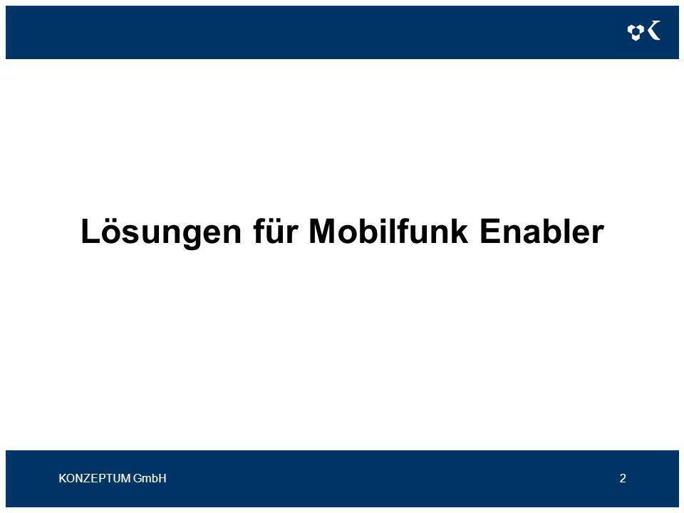 Lösungen für Mobilfunk Enabler Kompetenzen im Überblick KONZEPTUM GmbH3 Provisioning Freischaltung gegenüber den Netzbetreibern Rating Rating von Netzbetreiber-CDRs und sonstigen Nutzungsdaten Billing Abrechnung der Endkunden und VSPs CRM Kunden- und Vertragsmanagement; Unterstützung der CRM- Prozesse VSP-Interfaces