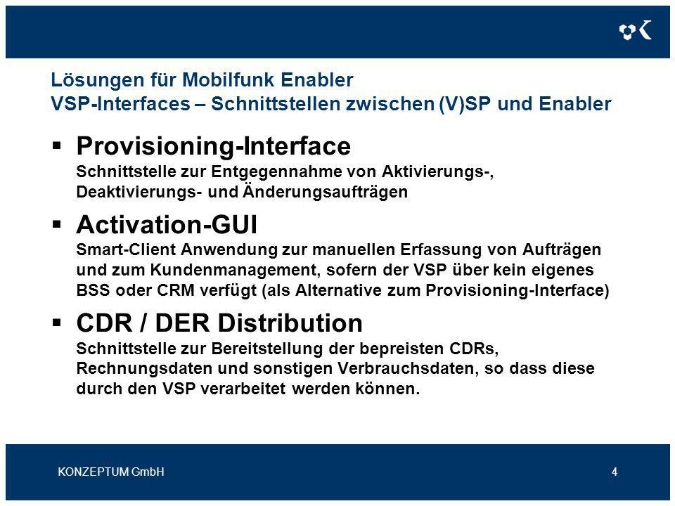 Lösungen für Mobilfunk Enabler VSP-Interfaces / Systemübersicht KONZEPTUM GmbH5 *) betrieben durch den Enabler oder KONZEPTUM