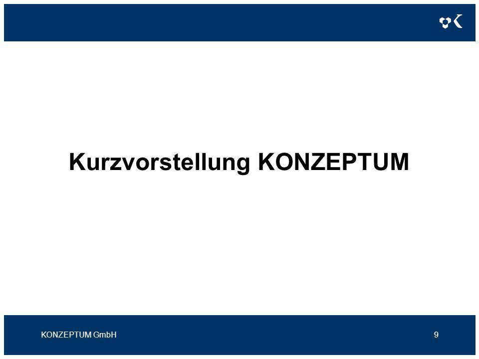 Kurzvorstellung KONZEPTUM Kernkompetenzen Abrechnung (Billing) Kundengewinnung / Kundenbindung (CRM) Verteilte Anwendungen Web-Portale Freischaltung (Provisioning) Datensammlung / Analyse (DWH / BI) KONZEPTUM GmbH10