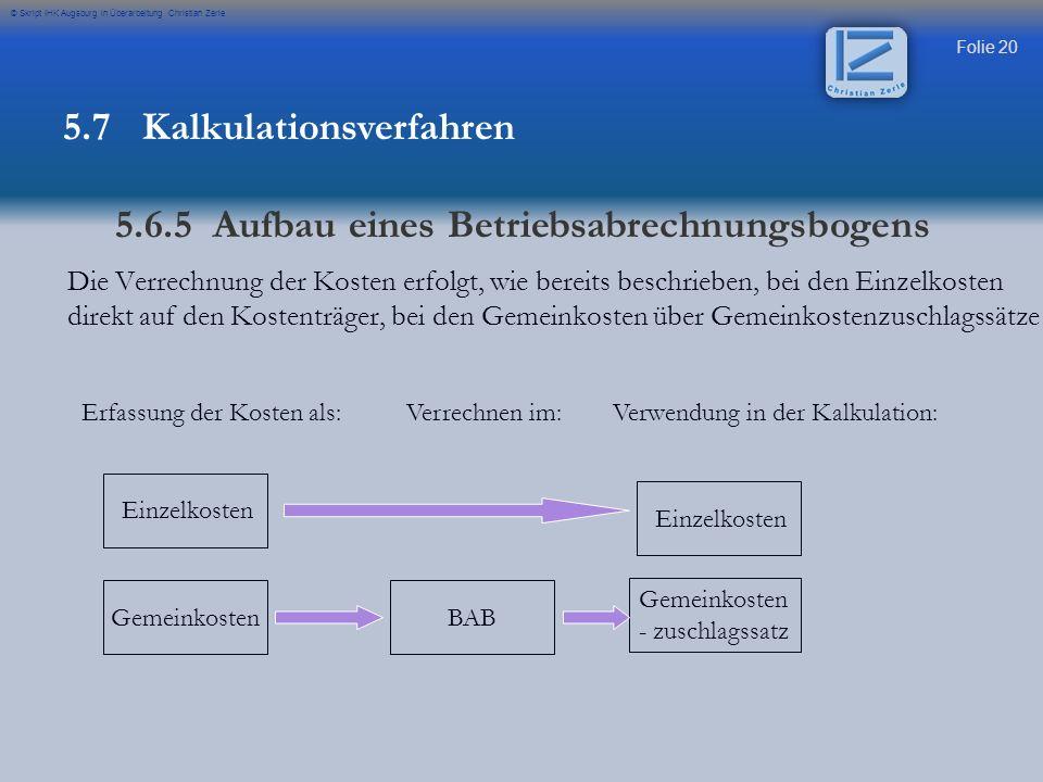 Folie 20 © Skript IHK Augsburg in Überarbeitung Christian Zerle Die Verrechnung der Kosten erfolgt, wie bereits beschrieben, bei den Einzelkosten dire