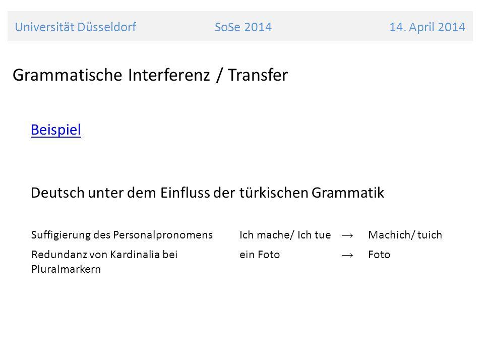 Grammatische Interferenz / Transfer Beispiel Deutsch unter dem Einfluss der türkischen Grammatik Universität Düsseldorf SoSe 2014 14. April 2014 Suffi