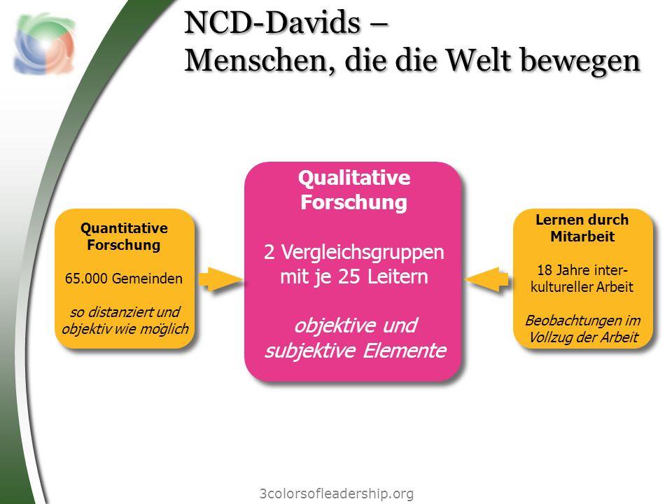 3colorsofleadership.org NCD-Davids – Menschen, die die Welt bewegen Qualitative Forschung 2 Vergleichsgruppen mit je 25 Leitern objektive und subjekti