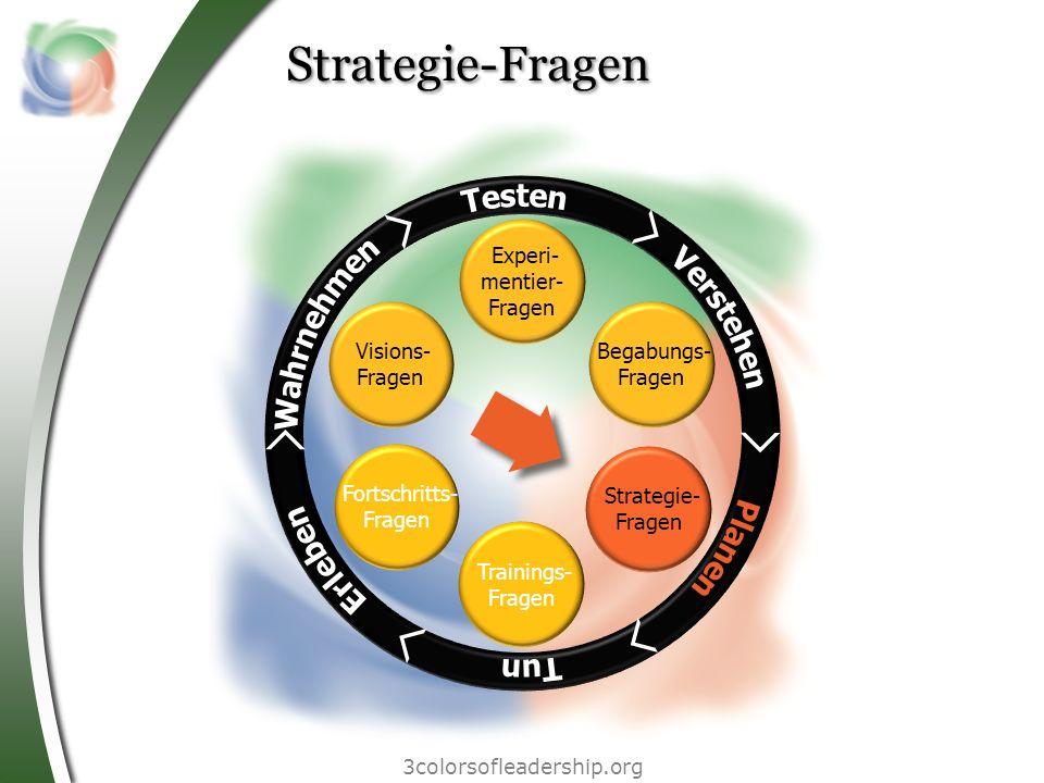 3colorsofleadership.org Strategie-Fragen Begabungs- Fragen Experi- mentier- Fragen Fortschritts- Fragen Trainings- Fragen Visions- Fragen