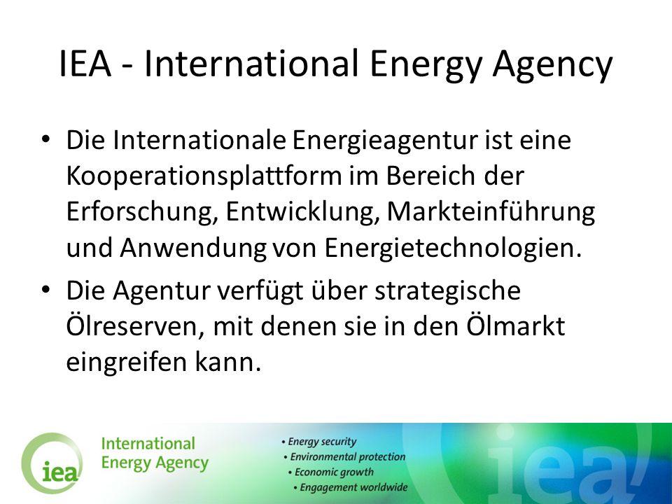 IEA - International Energy Agency Die Internationale Energieagentur ist eine Kooperationsplattform im Bereich der Erforschung, Entwicklung, Markteinfü