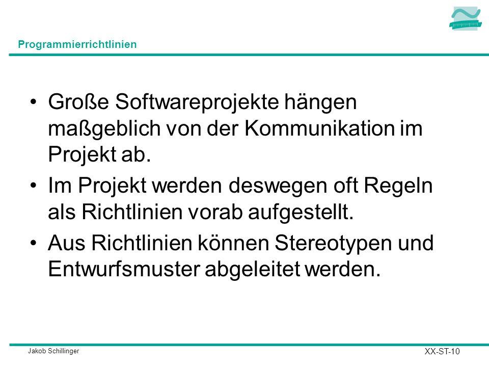 Jakob Schillinger Programmierrichtlinien Große Softwareprojekte hängen maßgeblich von der Kommunikation im Projekt ab.