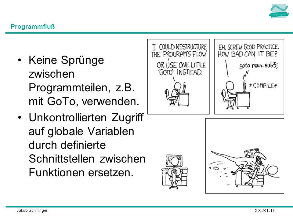 Jakob Schillinger Programmfluß Keine Sprünge zwischen Programmteilen, z.B.