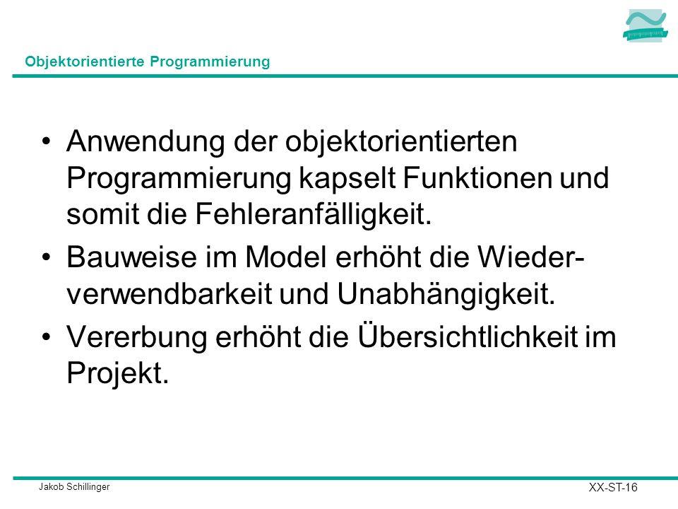 Jakob Schillinger Objektorientierte Programmierung Anwendung der objektorientierten Programmierung kapselt Funktionen und somit die Fehleranfälligkeit.
