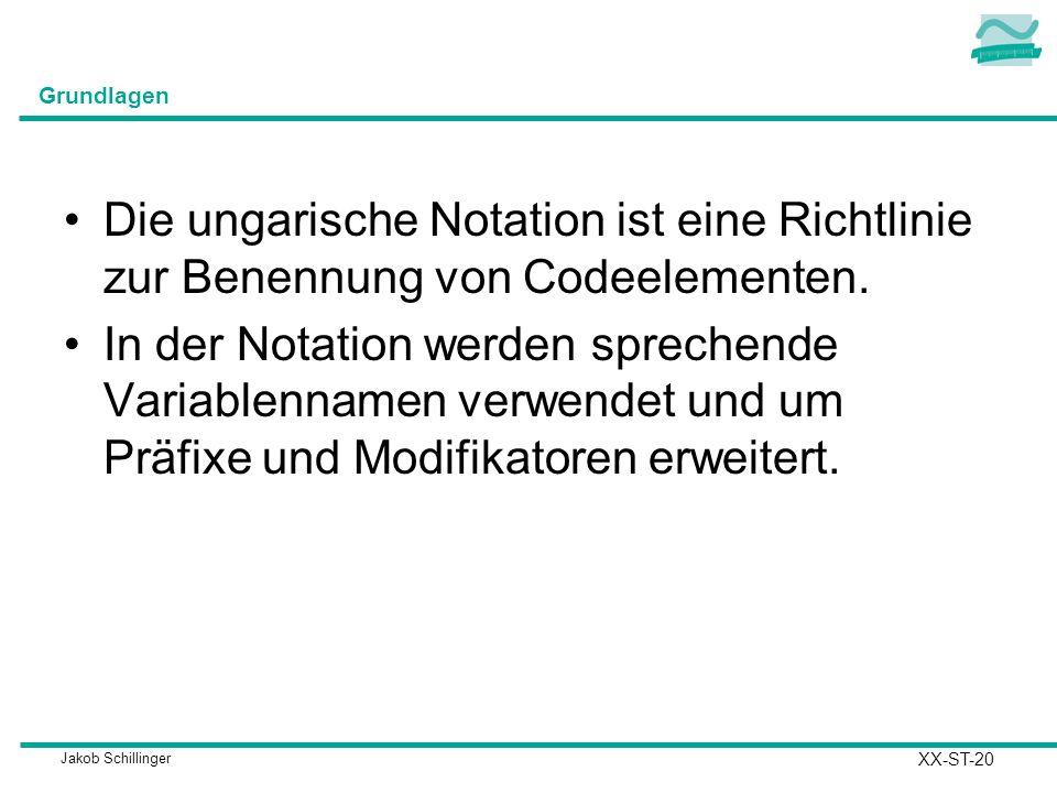 Jakob Schillinger Grundlagen Die ungarische Notation ist eine Richtlinie zur Benennung von Codeelementen.