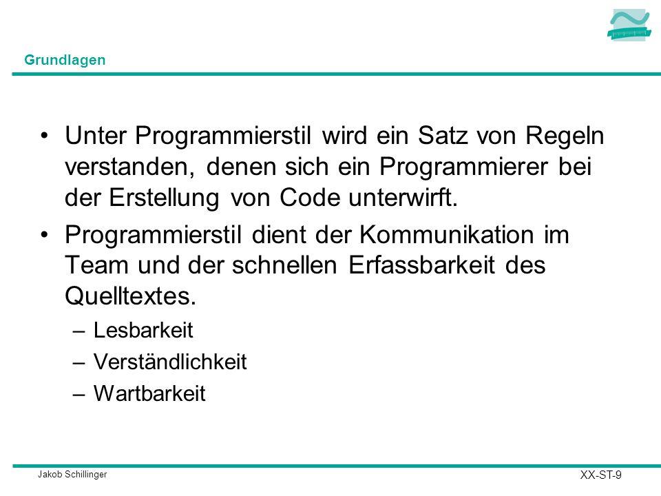 Jakob Schillinger Grundlagen Unter Programmierstil wird ein Satz von Regeln verstanden, denen sich ein Programmierer bei der Erstellung von Code unterwirft.