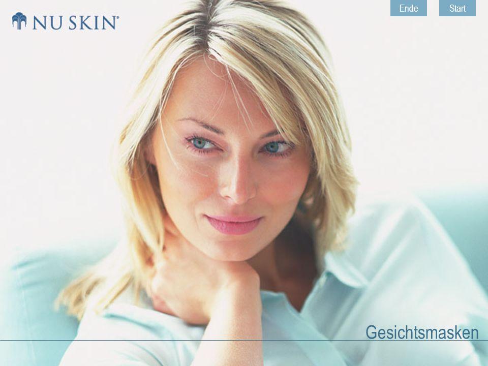 HomeZurück © 2001 Nu Skin ® Europe Gesichtsmasken Weiter Face Masque Two-part Face Masque - Hauptinhaltsstoffe Activating Solution Component enthält:  hydrolysiertes Weizenprotein (pflegend);  Aloe vera (feuchtigkeitsspendend und glättend).
