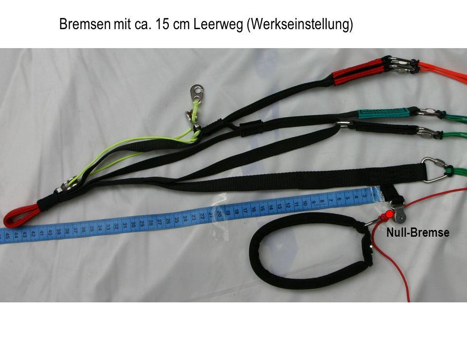 Null-Bremse Bremsen mit ca. 15 cm Leerweg (Werkseinstellung)