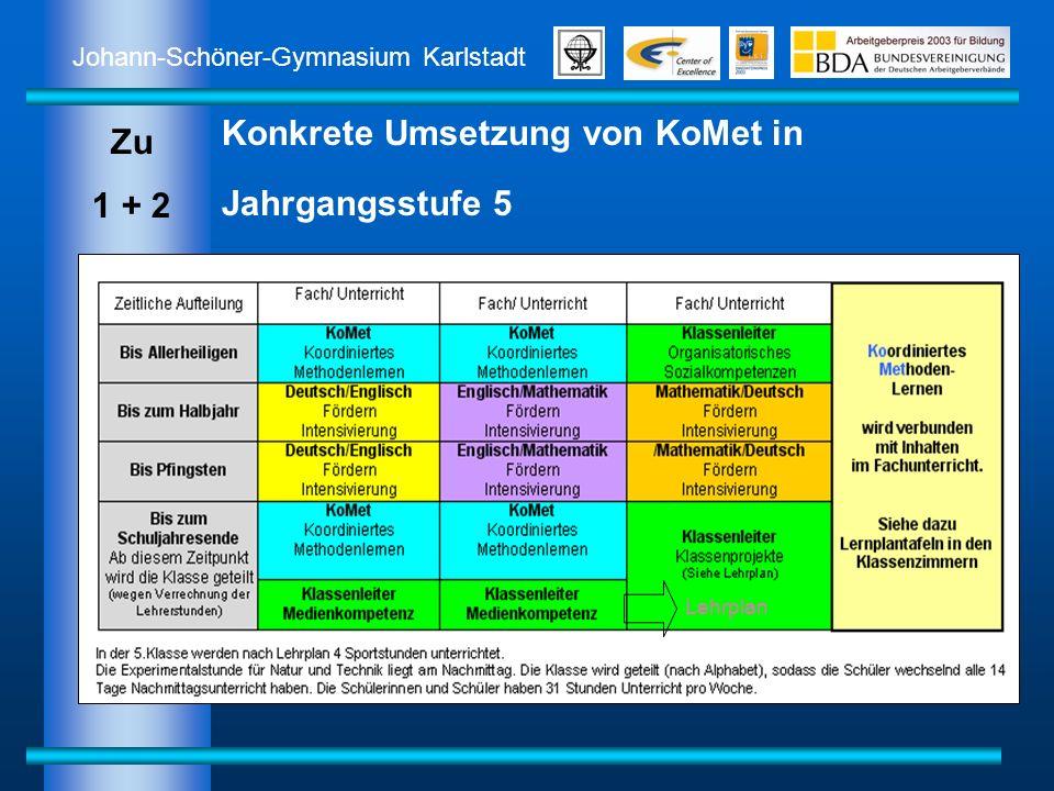 Johann-Schöner-Gymnasium Karlstadt Konkrete Umsetzung von KoMet in Jahrgangsstufe 5 Zu 1 + 2 Lehrplan