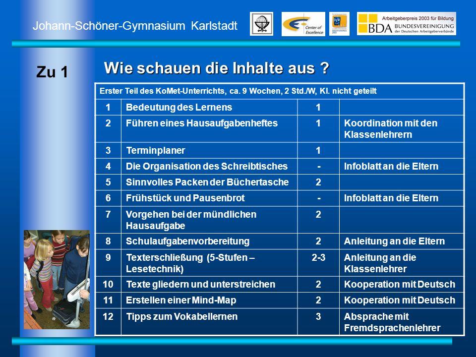 Johann-Schöner-Gymnasium Karlstadt Wie schauen die Inhalte aus ? Erster Teil des KoMet-Unterrichts, ca. 9 Wochen, 2 Std./W, Kl. nicht geteilt 1Bedeutu